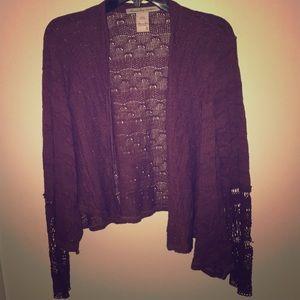 Plum, open knit sweater cardigan